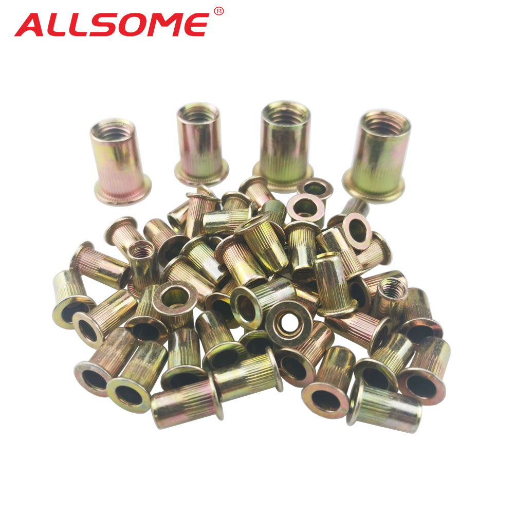 ALLSOME 300pcs M3 M4 M5 M6 M8 M10 Head Rivet Nuts Set Nuts Insert Reveting Multi Size Rivet Nuts Collocation with BOX HT2599