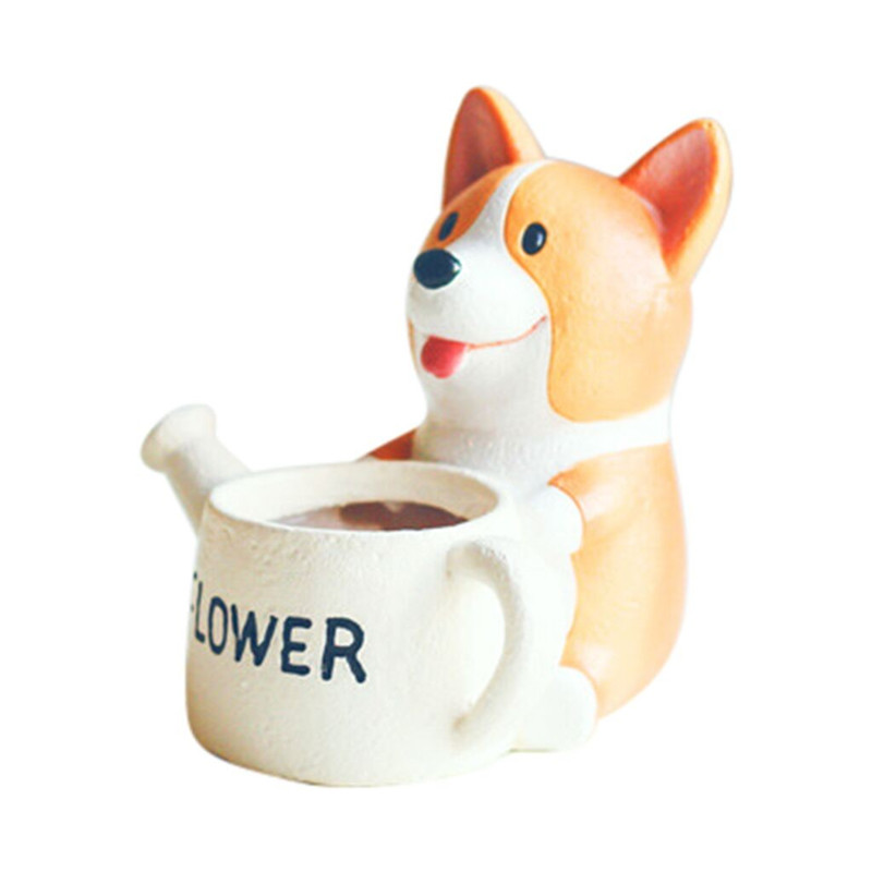 Image 1 - Lovely Corgi Dog Shaped Plant Decor Succulent Plants Decorative Flower Pot garden small planter succulent guardian-in Flower Pots & Planters from Home & Garden