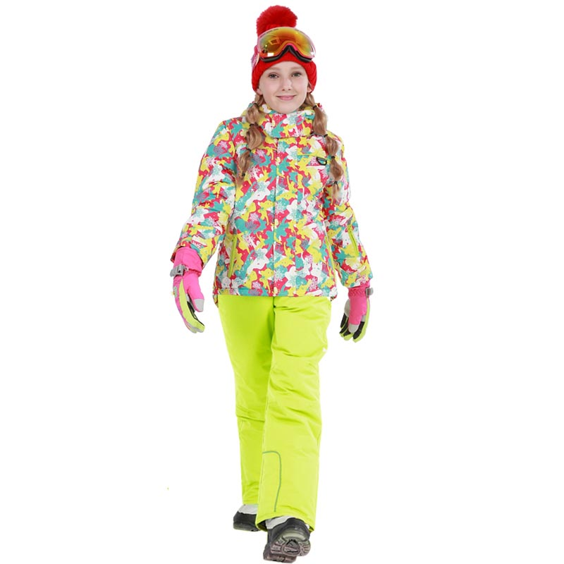 2018 Winter Girls Ski Sets Outdoor Windproof Waterproof Snowboard Fleece Outerwear Sport Suits for Girl Children