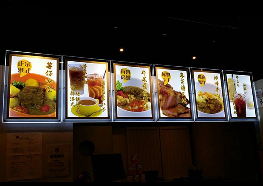 6XA2 Super slim acrylic menu frame fast food restaurant