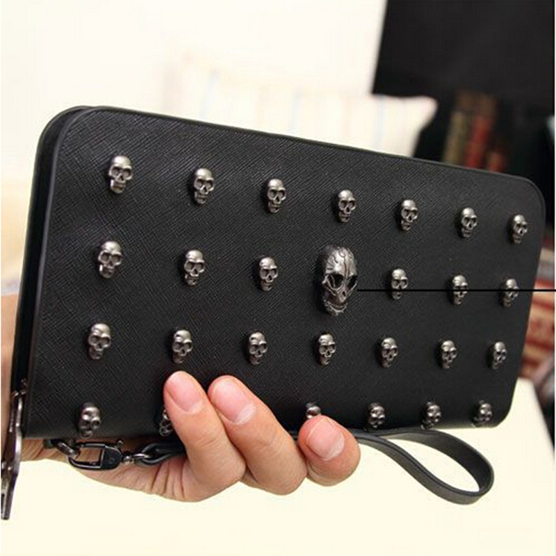 designer wallets famous brand women wallet 2015 Leather Wallets vintage Punk Skull And Crossbones Clutch Purses Card Holders
