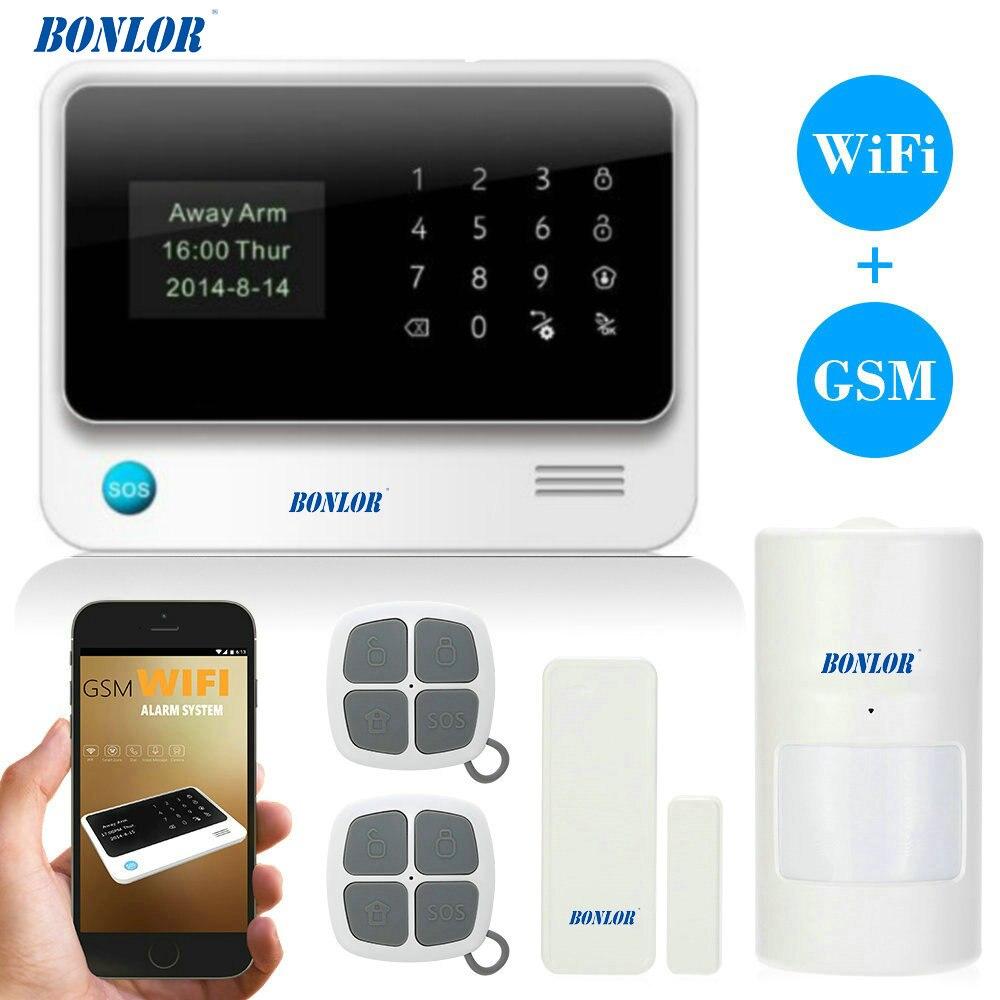 BONLOR G90B WiFi GPRS Alarme GSM Numérotation Automatique Alarmsysteem Personnaliser Alarmsysteem APP Controle PIR Détecteur Deur Capteur