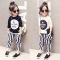 Children clothing sets 2016 new Girls sports suit summer long sleeve shirt+stripe Harem pants kids girl clothes suits 2pcs/set