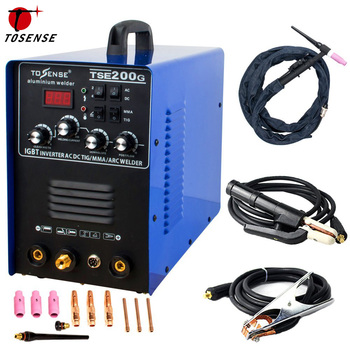 цена Tosense AC/DC IGBT Inverter Welding Machine  Aluminum 220V TIG MMA ARC Stick 200A Welder With Welding Consumables TSE200G онлайн в 2017 году