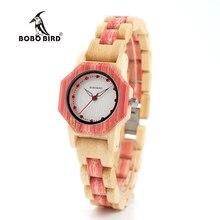 BOBO ptak V O11/O12 kobiety drewno bambusowe kwarcowy zegarek przypadku Hexagonall z Dimond kobiet luksusowy zegarek