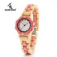 Bobo pássaro V O11/o12 relógio de quartzo de madeira de bambu feminino hexagonall caso com dimond relógio de luxo feminino|case case|case women|case new -