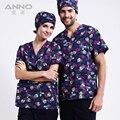 Enfermera del hospital uniforme venta caliente scurbs uniformes médicos, nuevo estilo V-cuello médico scurbs con flores top + pantalón Azul.