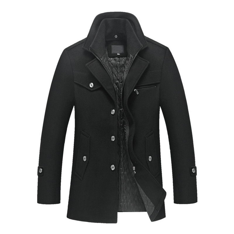 New men's winter padded wool jackets coats removable quilted lining button wool blends pea coat thick padded jacket coat men(China)