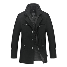 New mens winter padded wool jackets coats removable quilted lining button wool blends pea coat thick padded jacket coat men cheap Wool Blends Single Breasted Regular Polyester Long Broadcloth Hat Detachable Wool Polyester Full Cotton Liner 2016110202-158