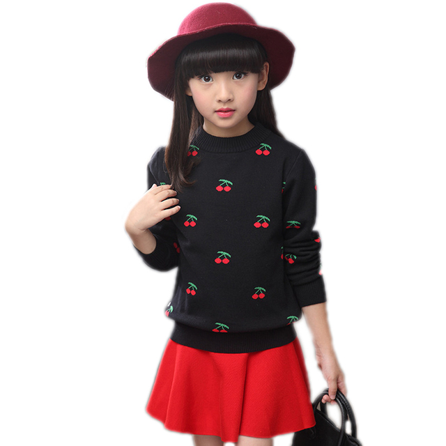children clothing 2017 new fashion spring toddler girl sweater cherry printed winter pullover warm knitted carigan for girls