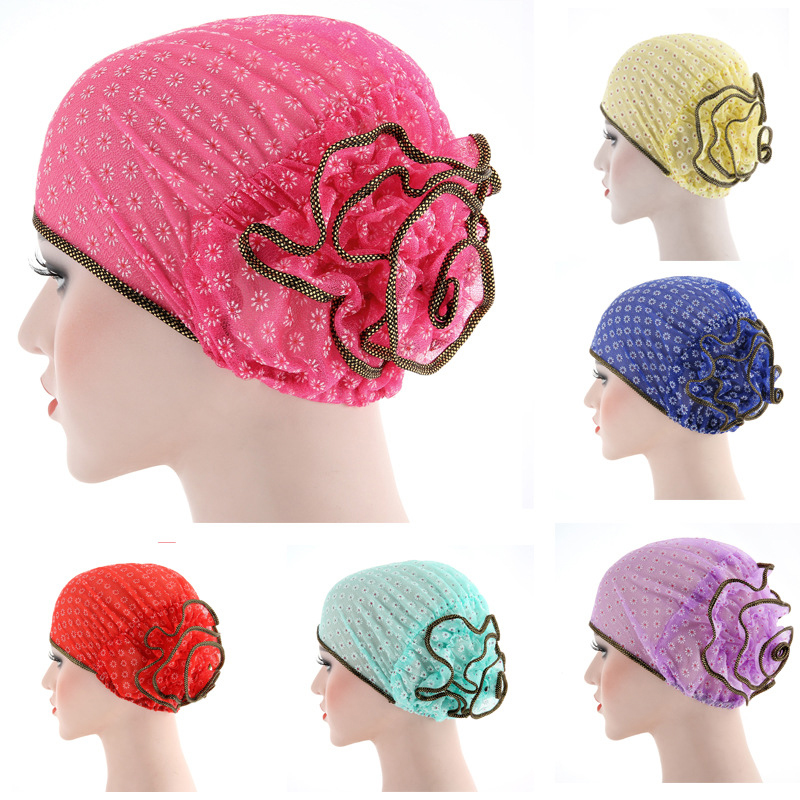 Women Muslim Stretch Turban Hat Chemo Flower Cap Hair Loss Head Scarf Wrap Hijab Cap Polyester Floral Cap
