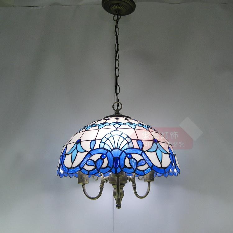 Pendant Light hanging dual-purpose energy-saving lighting lamp Tiffany fresh Mediterranean style hotel restaurant cafe room tiffany restaurant in front of the hotel cafe bar small aisle entrance hall creative pendant light mediterranean df66
