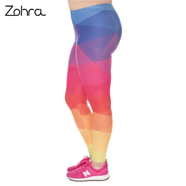 Large Size Leggings Triangles Rainbow Printed High Waist Leggins
