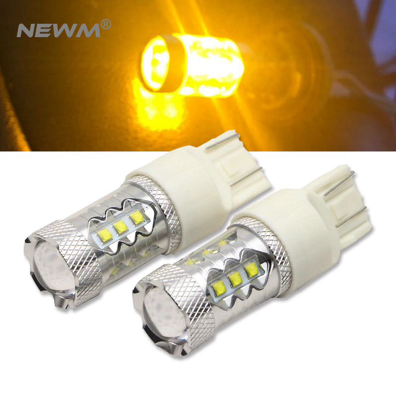 2x High Power 30W/50W/80W <font><b>CREE</b></font> Chip <font><b>T20</b></font> 7443 W21W <font><b>LED</b></font> Bulbs Car Lights Signal Backup DRL Lights White/Red/Amber image