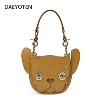 DAEYOTEN 2019 New Rivet Lock Shoulder Bag Animal Shape Handbag Women's Bag Cute Dog Tote Bags Luxury Designer Handbags ZM0238