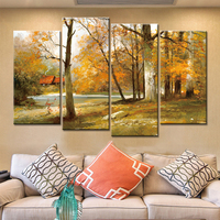 New 4 Piece Canvas Painting Autumn Scenery Wall Picture for Living Room Home Decoration Art Abstract Posters and Prints Nordic