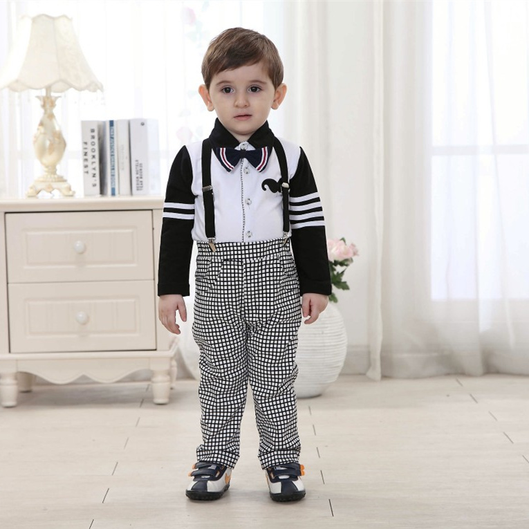Boutique Kids Overalls Clothing Baby Names for Boys Clothes Set 4t Gentleman Imported-clothing Turn-down Collar Shirt with Pants ...