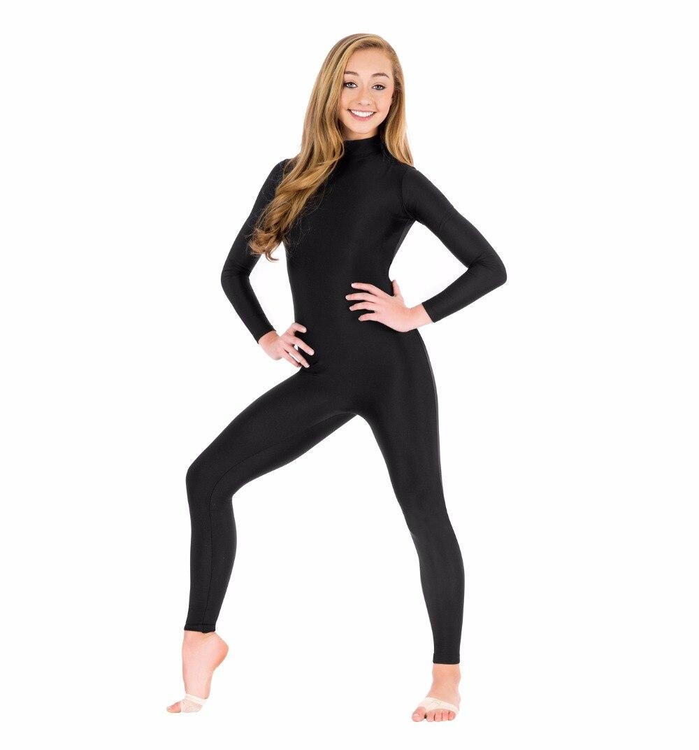 Women Mock Neck Long Sleeve Unitard Turtleneck Black Gymnastics Unitard Dancewear Full Body Lycra Spandex Bodysuits Plus Size