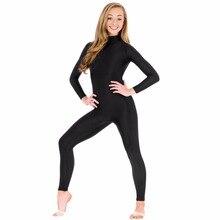 Для женщин воротник-стойка с длинным рукавом комбинезон с высоким, плотно облегающим шею воротником черный гимнастика комбинезон; Одежда для танцев, на все тело, лайкра спандекс-боди размера плюс