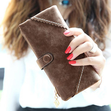 Wholesale 5* ( Long Women Wallet Messenger bags Handbag Retro Dull Polish Purse Multifunctional-coffee