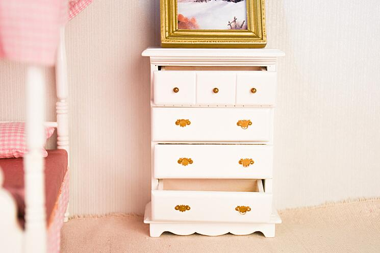 G08-X014 children baby gift Toy 1:12 Dollhouse mini Furniture Miniature rement wooden white bedroom wardrobe 1pcs