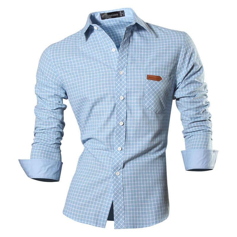 2018 Демисезонный Особенности рубашки Для мужчин повседневные джинсы рубашка  новое поступление с длинным рукавом Повседневное Slim 13c4c070946