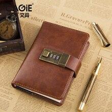 Cagie винтажные A7 ноутбук коричневый/красный кожаный мини карман дневник с замком офисные повестки органайзер ежедневник filofax