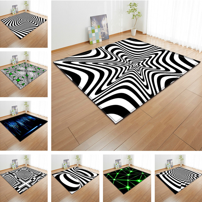 Abstract visual black and white carpet art large carpet - Black and white living room rug ...