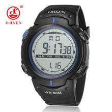 OHSEN Digital Relogio Man Wristwatch Blue Rubber Strap Alarm Date Chronograph LCD 50M Swim Sport Male Watch Clock Horloge Gift(China)