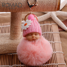 ROMAD Gold Key Chain Pom Pom Key Ring Fake Rabbit Fur Ball Key Chain Sleeping baby doll Fourrure Pompon Women Bag Charms R4