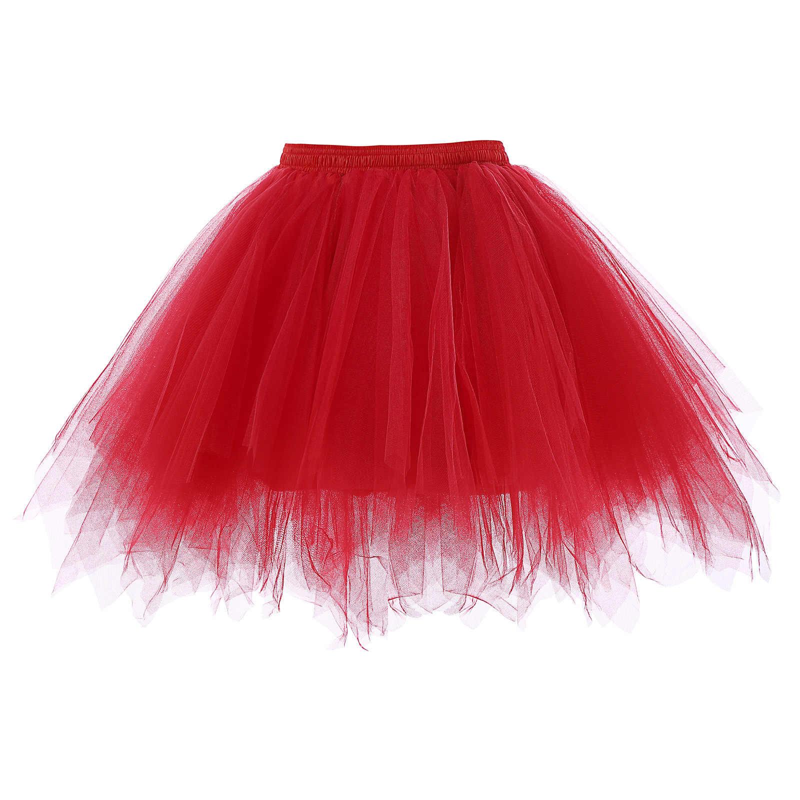 b92c6ce796 KK stock Women white black red Soft Tulle Netting Retro skirt Vintage  Crinoline Petticoat Unde short