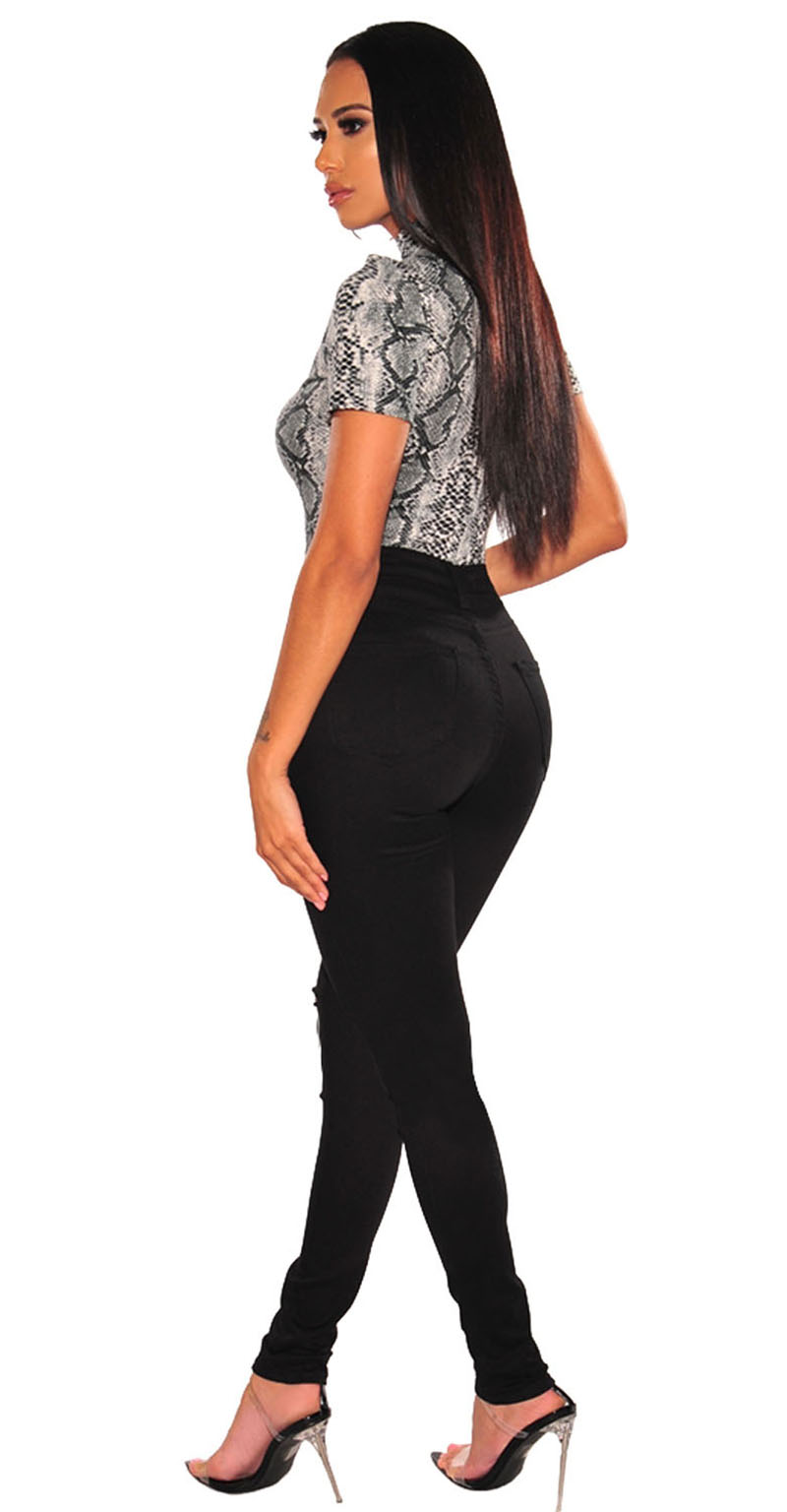 Gray-Snake-Print-Mock-Neck-Short-Sleeves-Bodysuit-LC32345-11-4