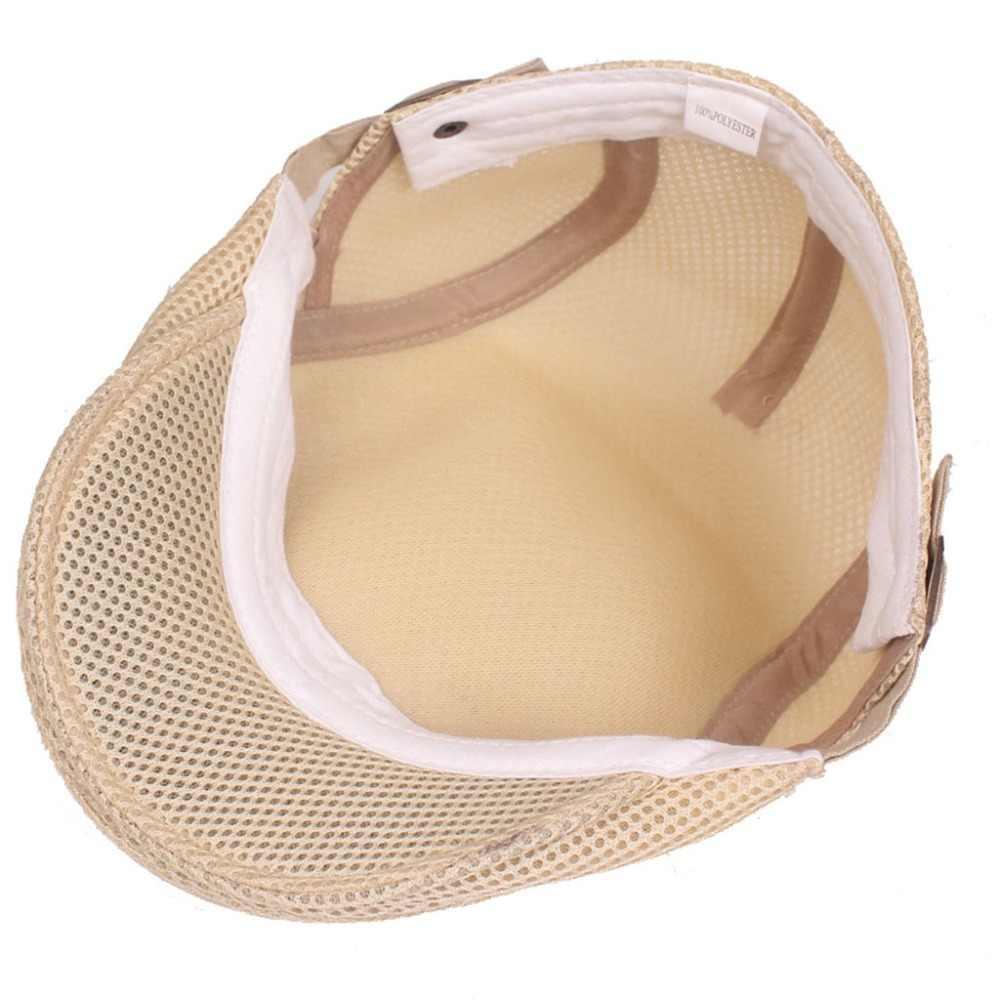 f4ac5a2af56 ... Mens Breathable Mesh Summer Duckbill Hat Newsboy Beret Ivy Cap Cabbie  Flat Soft Driving Outdoor Adjustable ...