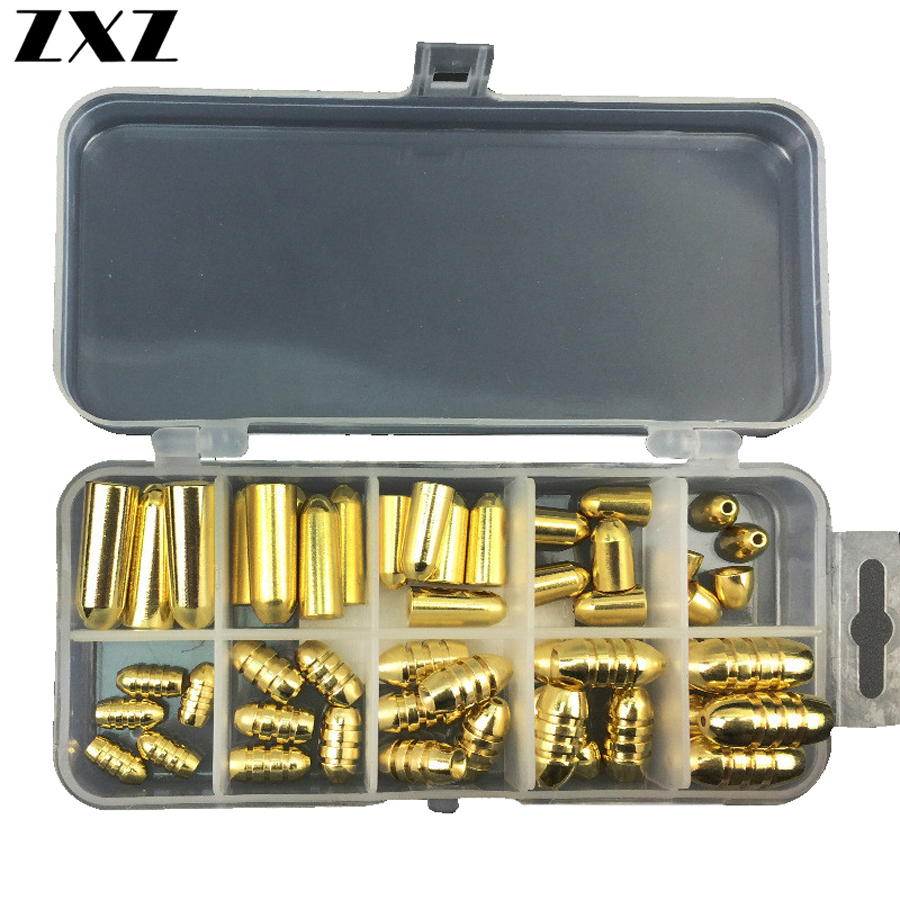 50Pcs Brass Threaded Lead Sinker Mould Bullet Shape Copper Drop Shot Weights Fishing Sinker Moulds For Texas Rig Fishing Tackle