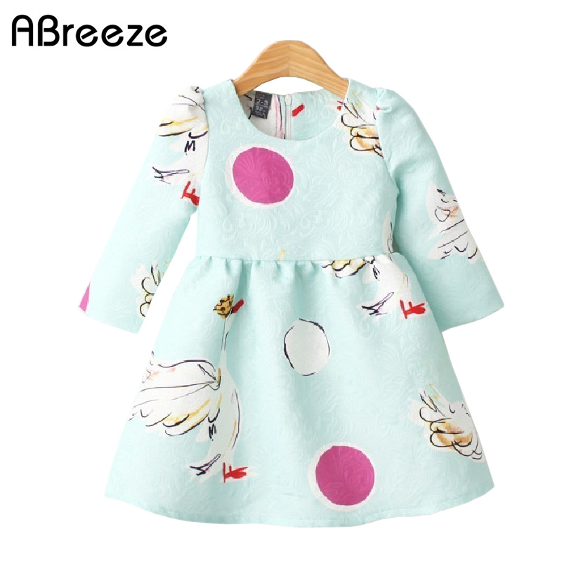 2-7 years young girls formal dresses New autumn spring fashion kids pink/blue SWAN dresses for girls pink swan 100