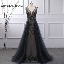 CRYSTAL JIANG 2019 Evening Dress Sexy V Neck Heavy Beaded Custom made Sleeveless Gray A Line Dresses Long Formal Gown