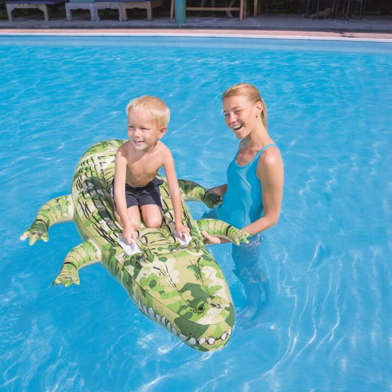 Kids Inflatable Ride-on  Alligator Pool Floats Buoy Swimming Air Mattress Floating Island Toy Water Boat Pontoon Summer Fun