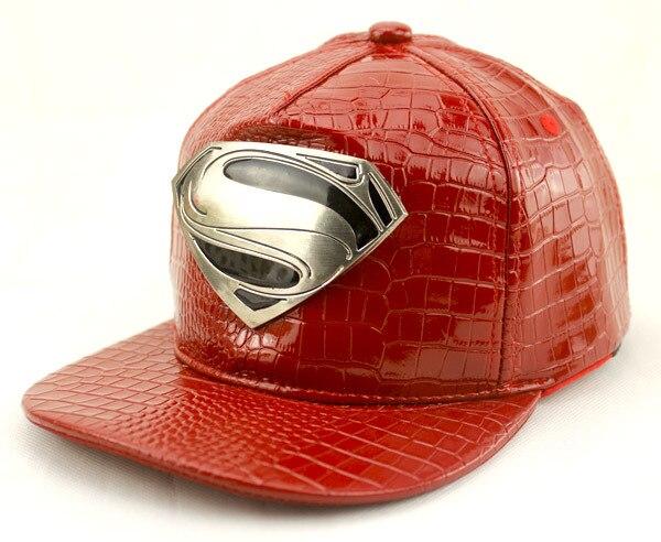 Prix pour Nouveau mode superman rupture en arrière snapback casquettes chapeau super homme réglable Gorras Hip Hop Casual en cuir Casquette de baseball pour Hommes femmes