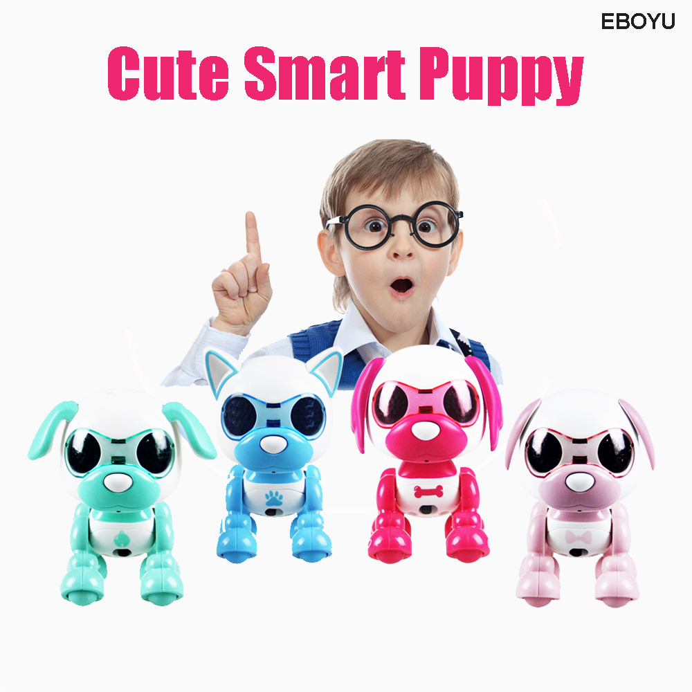 EBOYU Cute Smart Dog UInteractive Smart Puppy Robot Dog With LED Eyes Sound Recording Sing Sleep Cute Gift Toy