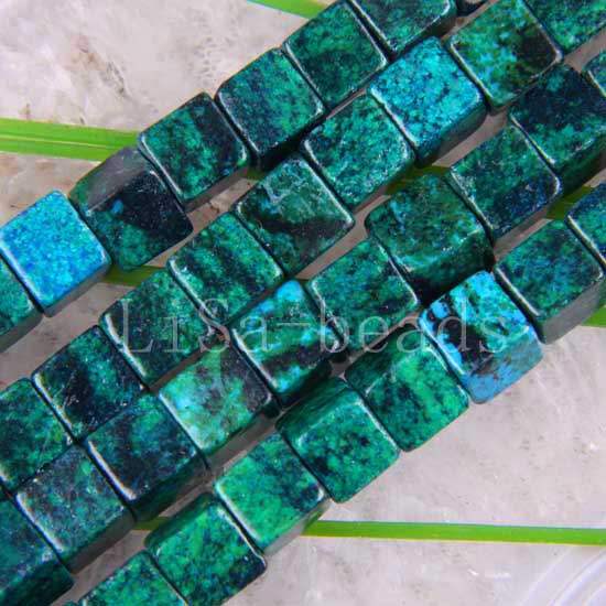 "Free Shipping Fashion Jewelry Cube 8MM Blue Brazilian Azurite Loose Beads Strand 16"" A460"