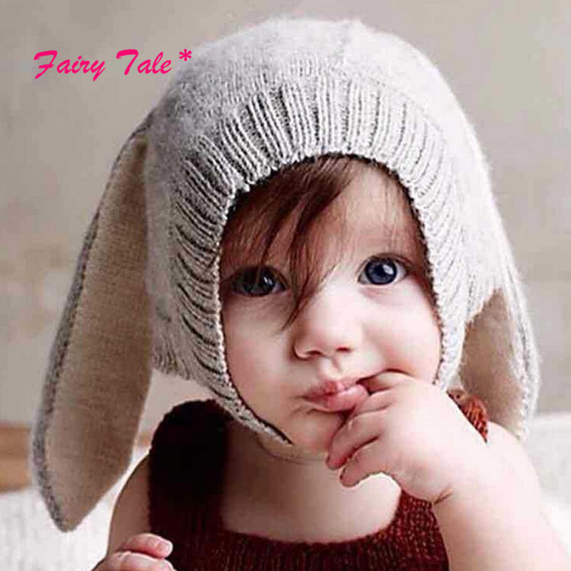 Winter Warm Toddler Infant Knitted Baby Hat Adorable Rabbit Long Ear Hat  Baby Bunny Beanie Cap Photo Props 46aab68dfc29