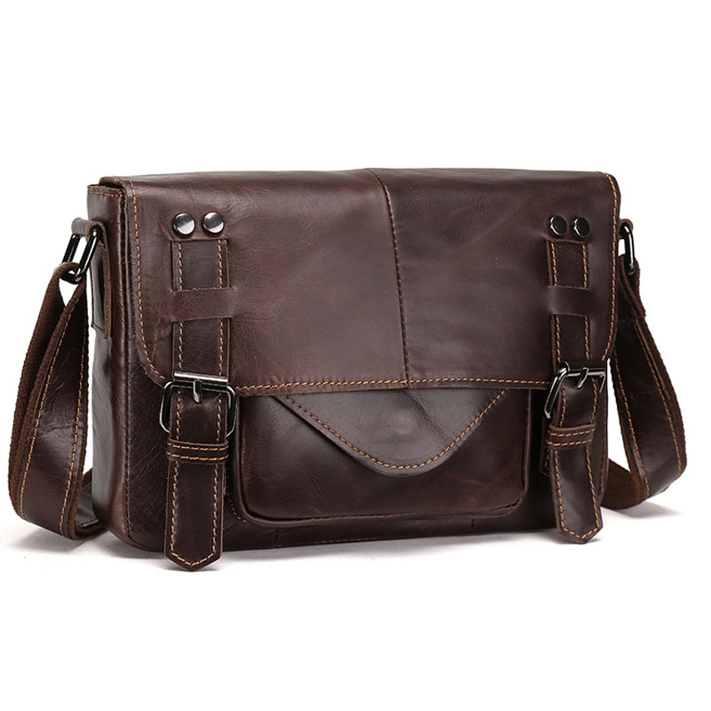 New High Quality Oil wax Genuine Leather Cowhide tide Men Vintage Business Travel Casual Crossbody Shoulder Bag Briefcase new genuine leather men bag oil wax cowhide vintage male single shoulder crossbody messenger bag quality brand casual satchel
