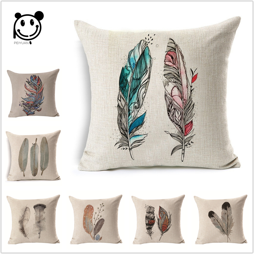 Tribal Pattern Feather Cushion Cover Retro Sofa Throw Pillows Shaped Pebble Pillow Lounge Linen Lounger 45x45cm