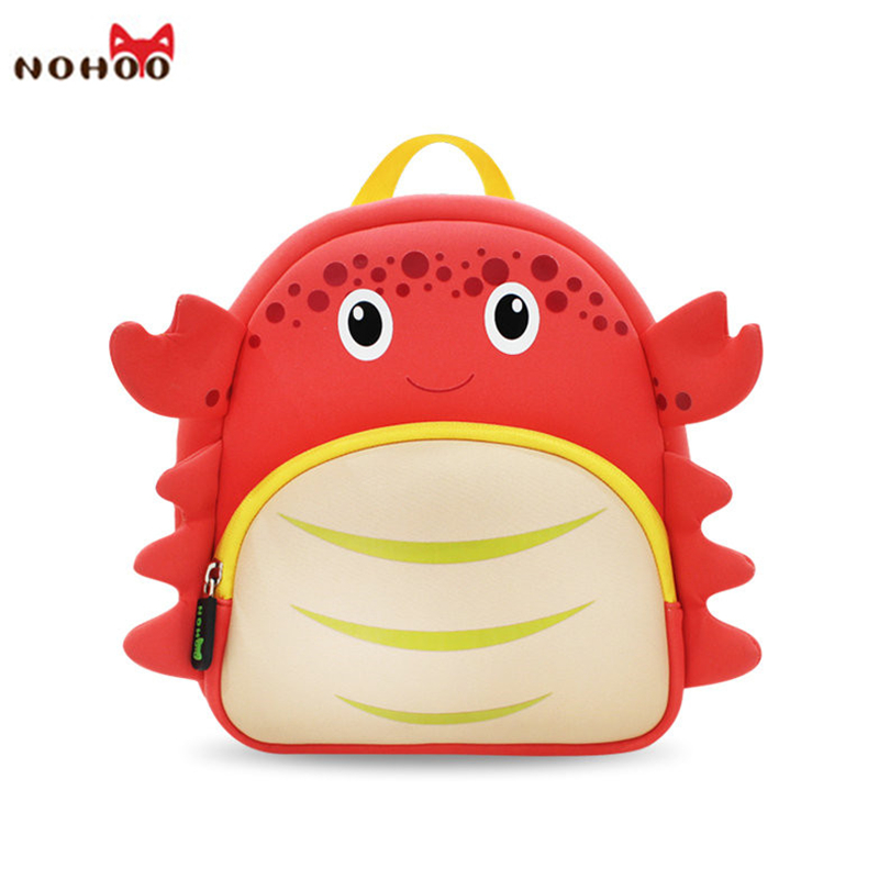 NOHOO Waterproof School Bags for Girls Cartoon Crab Fashion Printing Backpack Kids Orthopedic School Bag Child School Backpack awei wired stereo headphone with mic microphone in ear earphone for your in ear phone buds iphone samsung player headset earbuds