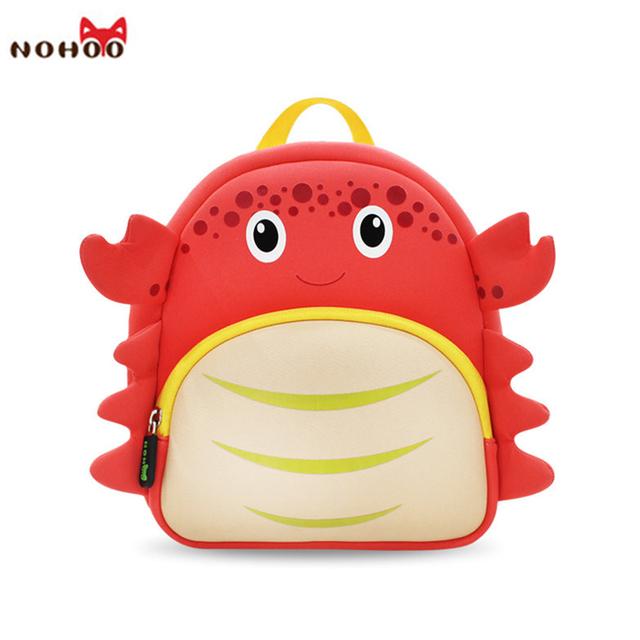 Nohoo impermeable mochilas escolares para las niñas de dibujos animados cangrejo moda mochila impresión niños mochila ortopédica