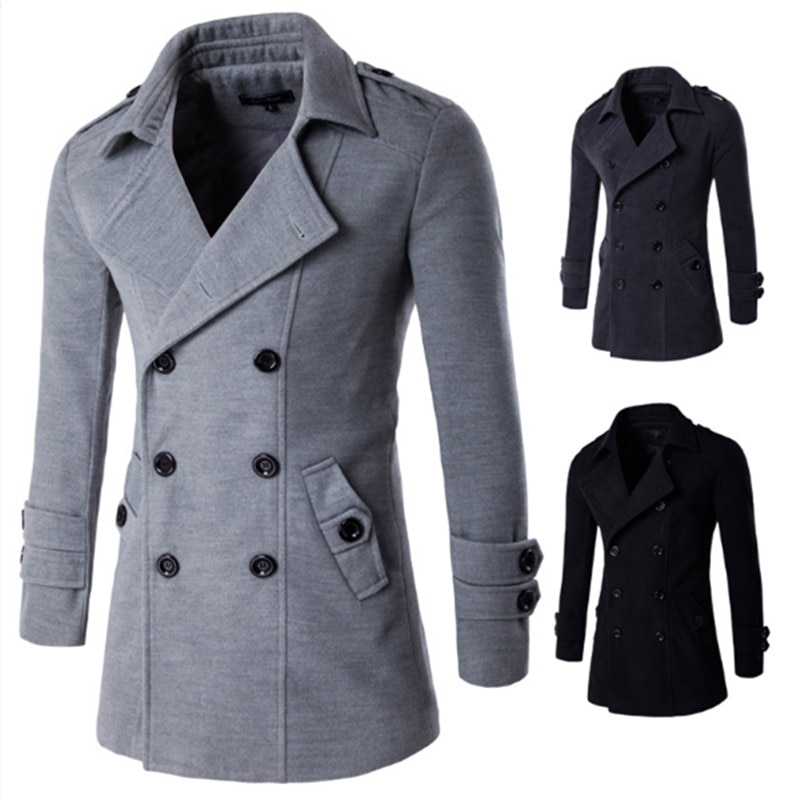 Drop Shipping Men British Style Trench Top Coat Mens Long Trench Coat Masculino Male Clothing Classic Double Breasted Overcoat