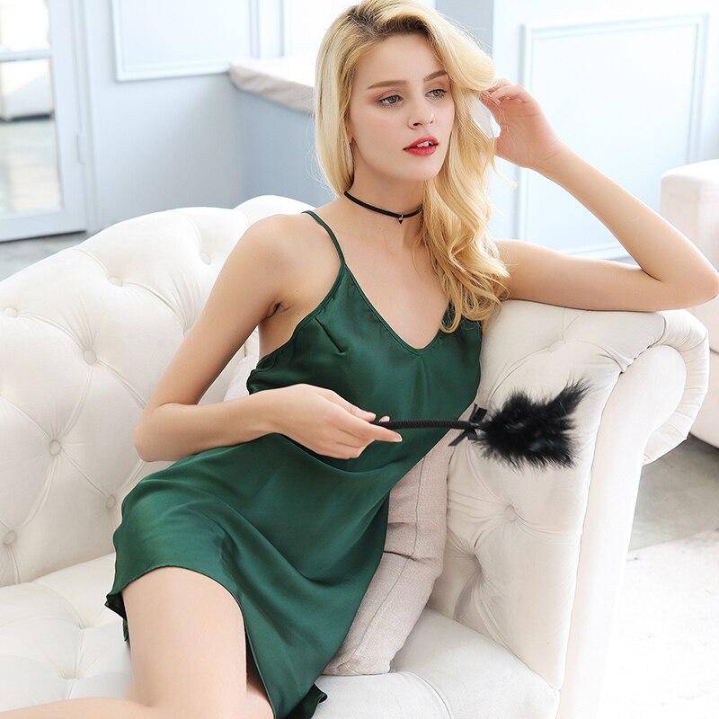 100% soie femme mode Sexy jupe de nuit vraie soie été robe de lit dos nu mûrier soie chemises de nuit sans manches vêtements de maison - 4
