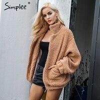 Simplee Lambswool Oversized Jacket Coat Winter Black Warm Hairly Collar Jacket Women Autumn Female Overcoat