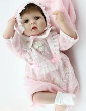 22 inch Soft Handmade Silicone Vinyl Reborn Baby Doll Soft Vinyl Girls Christmas Bebe Toys Birthday Gifts
