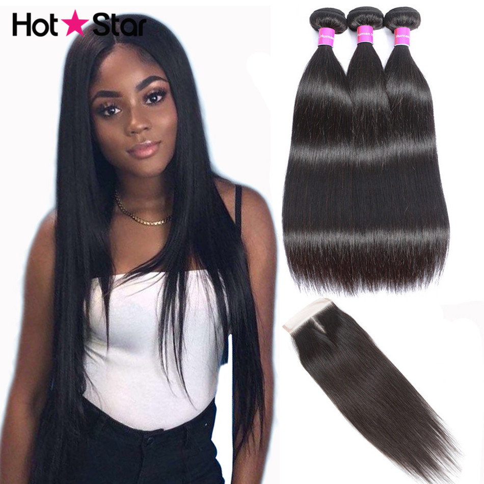 Hot Star Straight Hair Bundles With Closure Remy Human Hair Bundles With Closure Brazilian Hair Weave